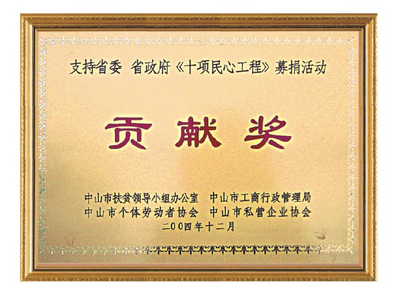 省政府《十项民心工程》募捐活动贡献奖